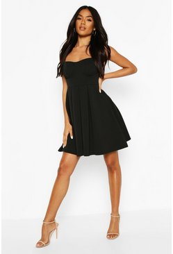 Black Cupped Pleated Skater Dress