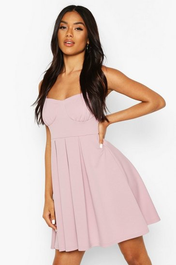 Lilac Cupped Pleated Skater Dress