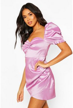 Lilac Puff Sleeve Button Mini Dress