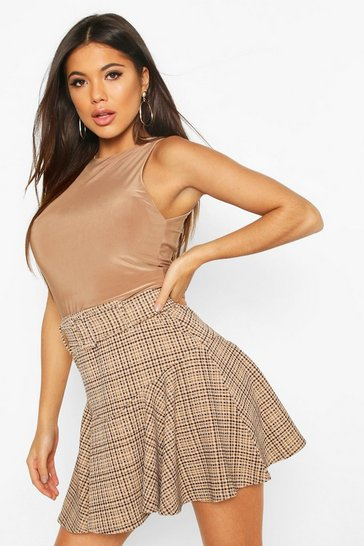 Sand Dogtooth Check Belted Drop Hem Mini skirt
