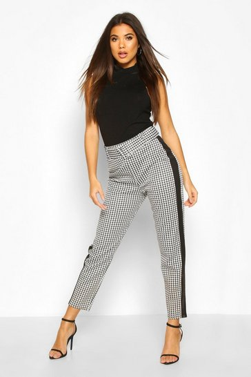Black Belted Dogtooth Panel Skinny Trouser