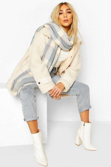 Blue Soft Check Oversized Fringe Scarf