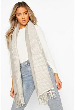 Grey Herringbone Knitted Fringe Scarf