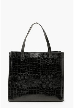 Black Croc PU Tote Shopper Bag