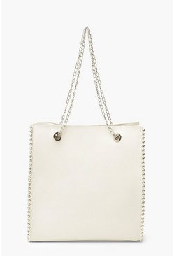 White Premium PU & Metal Bead Detail Tote Bag