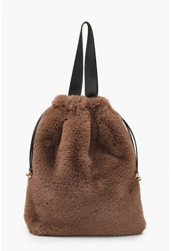 Chocolate Faux Fur Multiway Tote & Rucksack
