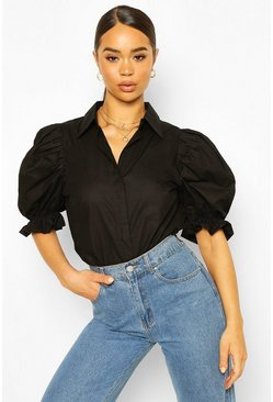 Black Woven Puff Sleeve Button Front Shirt