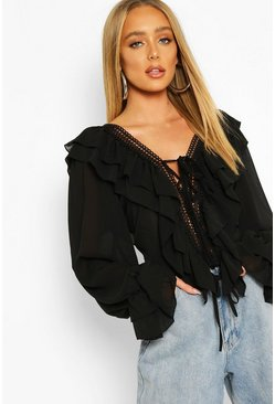 Black Woven Ruffle Detail Lace Trim Blouse