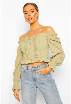 Sage Woven Off The Shoulder Lace Trim And Ruffle Top