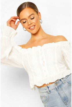 White Woven Off The Shoulder Lace Trim And Ruffle Top