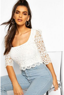 White Lace Square Neck 3/4 Sleeve Top