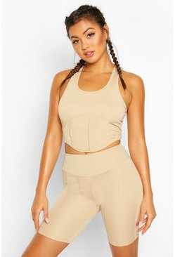 Fit Contour Stitch Gym Top, Nude
