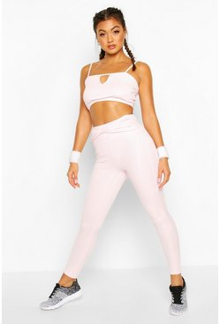 Fit Twist Waist Gym Leggings, Pink