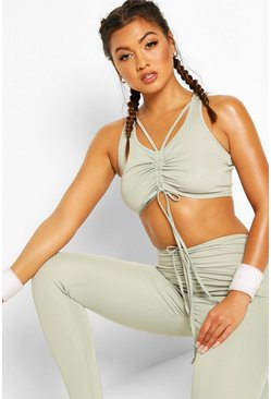 Fit Ruched Waist Gym Leggings, Sage