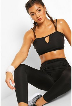 Black Fit Notch Front Sports Bra