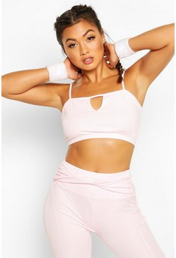 Pink Fit Notch Front Sports Bra