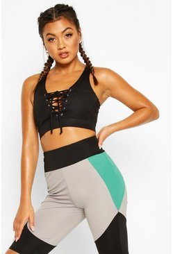 Black Fit Lace Up Sports Bra