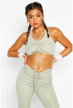 Fit Ruche Front Sports Bra, Sage