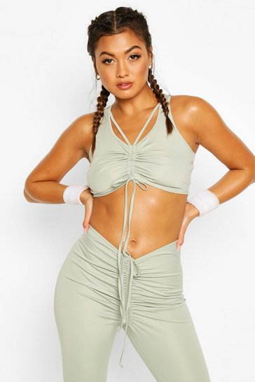 Sage Fit Ruche Front Sports Bra