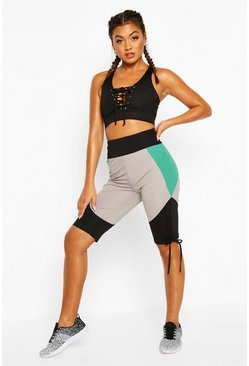 Green Fit Booty Boost Ruched Cycling Shorts