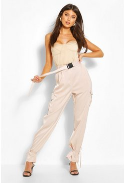 Stone Tie Detail Satin Cargo Pants