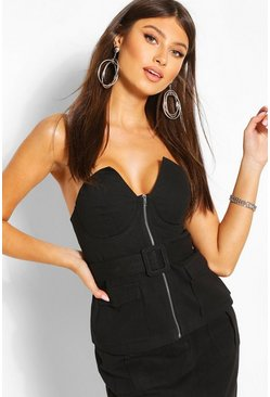 Black Buckle Detail Strapless Top