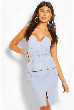 Blue Buckle Detail Strapless Top