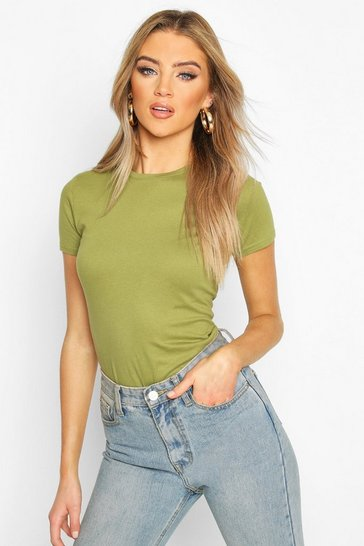 Khaki 100% Cotton Crew Neck T-Shirt