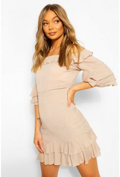 Stone Off Shoulder Cheesecloth Mini Dress