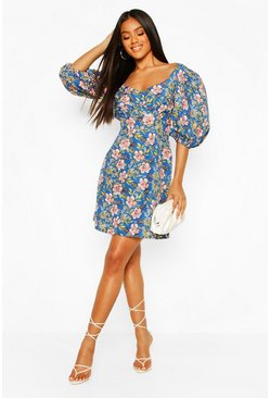 Blue Floral Puff Sleeve Button Mini Dress