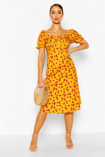 Mustard Off Shoulder Floral Print Midi Sundress