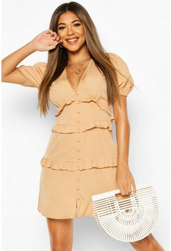Sand Ruffle Front Skater Dress