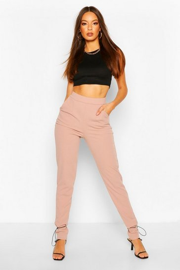 Fawn Toggle Tie Scuba Crepe Trouser