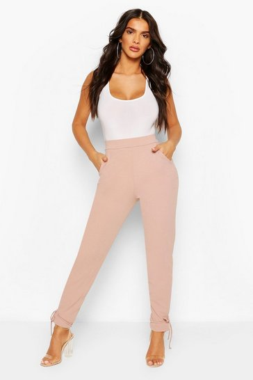 Fawn Scuba Crepe Ankle Tie Trousers