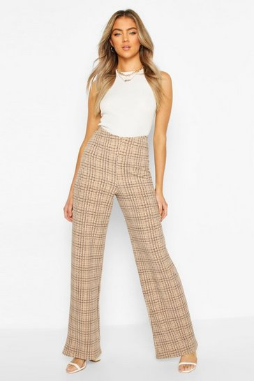 Sand Dogtooth Check High Waist Wide Leg Trousers