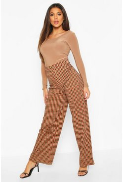 Checked Pocket Front Side Leg Trousers , Camel