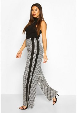Dogtooth Side Panel Wide Leg Trouser , Black