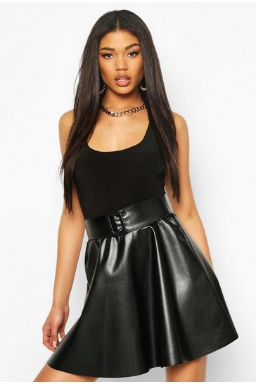 Black Self Fabric Belted Leather Look Mini Skirt