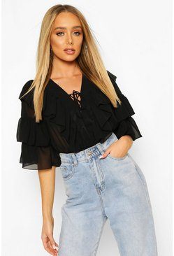 Black Woven Ruffle Lace Up Blouse