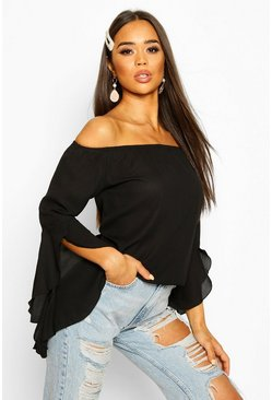 Black Woven Off The Shoulder Flute Sleeve Top