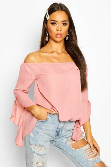 Blush Woven Off The Shoulder Flute Sleeve Top