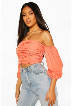 Coral Ruched Volume Sleeve Crop Top