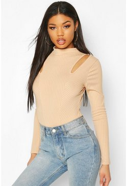 Stone Panelled Rib Long Sleeve Bodysuit