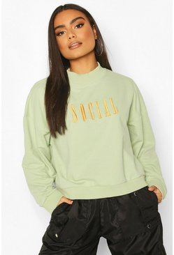 Mint High Neck Slogan Embroidered Sweat