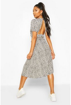 Dalmation Print Ruflle Button Midaxi Dress, White