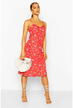 Red Floral Button Through Cami Midi Slip Dress