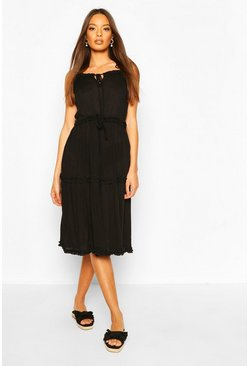 Black Strappy Tiered Ruffle Cheesecloth Midi Dress
