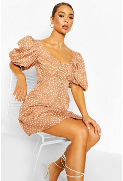 Mocha Polka Dot Puff Sleeve Button Detail Mini Dress