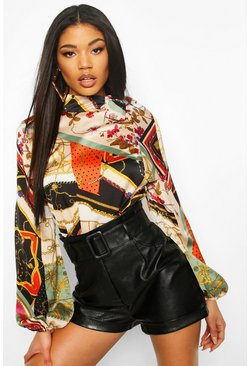 Rust Tie Neck Chain Print Woven Blouse
