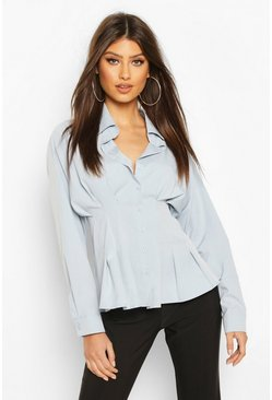 Blue Cotton Ruched Waist Shirt